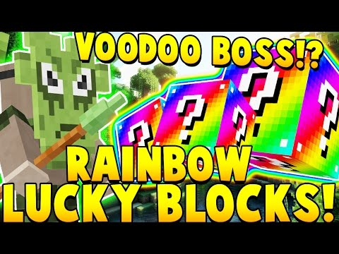 RAINBOW LUCKY BLOCK MOD vs VOODOO BOSS MOD | Minecraft - Mod Showcase
