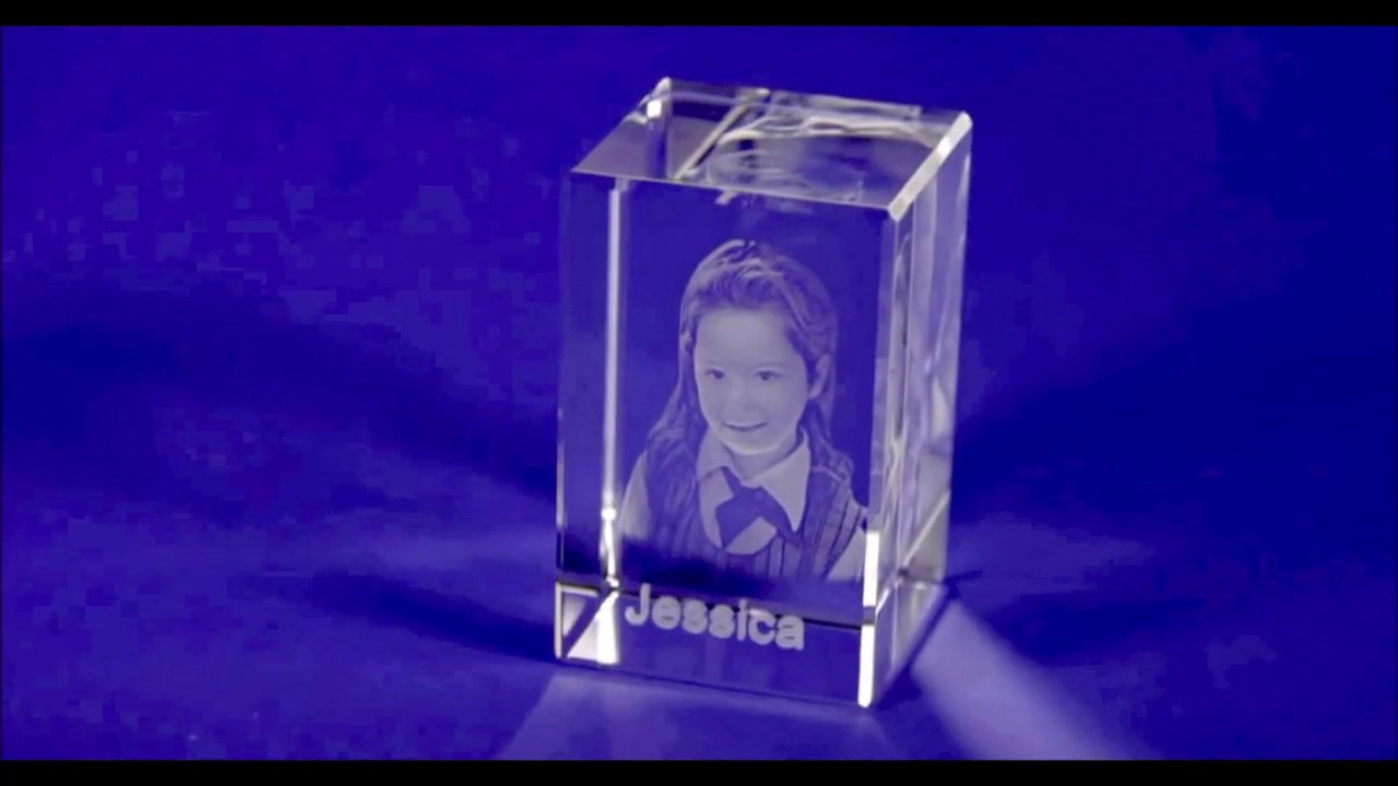 3d Crystal Glass Laser Engraving Photo Print Youtube