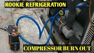 HVAC Refrigeration:  6D Compressor Changeout and Evacuation with the Navac 12cfm vacuum pump.