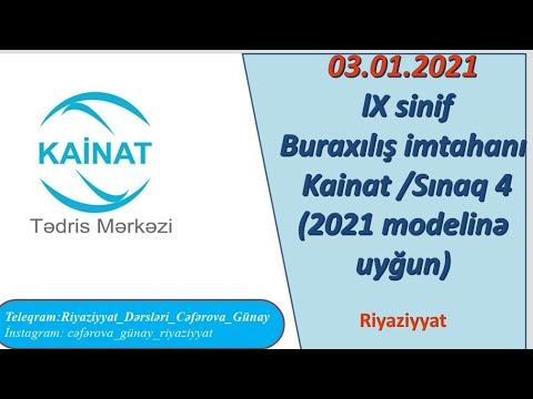 Kainat 3 Yanvar 2021 Sinaq 9 Cu Sinif Buraxilis Imtahani 2021 Imtahan Modelinə Uygun Youtube