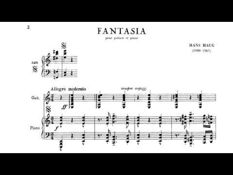 Hans Haug: Fantasia for Guitar and Piano (Score video)