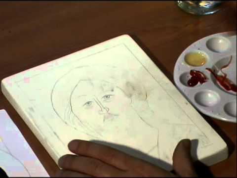 9b Peindre une icône, La grisaille Tutoriel pour apprendre à peindre une icône.