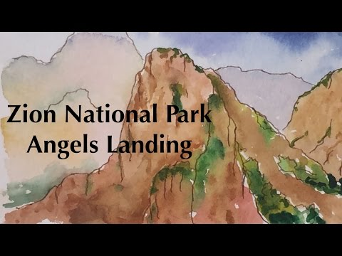 Painting Zion National Park Angels Landing in Watercolor Landscape Watercolour Tutorial