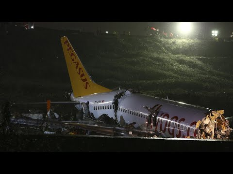 Plane breaks in half after skidding off runway at Turkish airport
