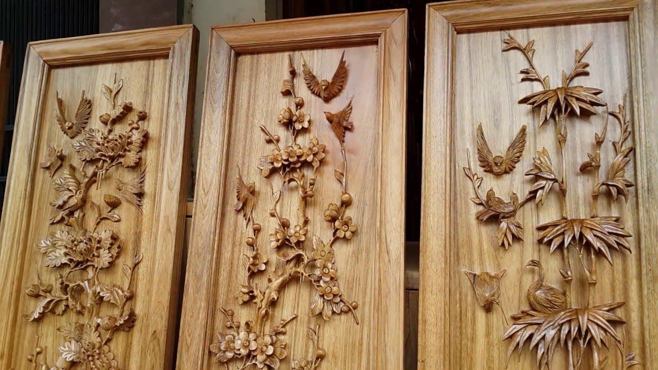 tranh tứ quý gỗ mít 2 Bộ Tranh Tứ Quý Đục Kênh Bong Đặc Sắc, Gỗ Gụ và Gỗ Hương (Đồ Gỗ  tranh tứ quý gỗ mít