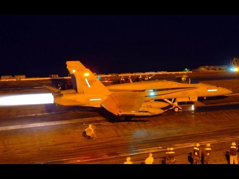 AWESOME SOUND !!! US Navy F-18 Aircraft Carrier Night Operations