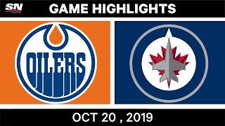 NHL Highlights | Oilers vs. Jets - Oct. 20, 2019