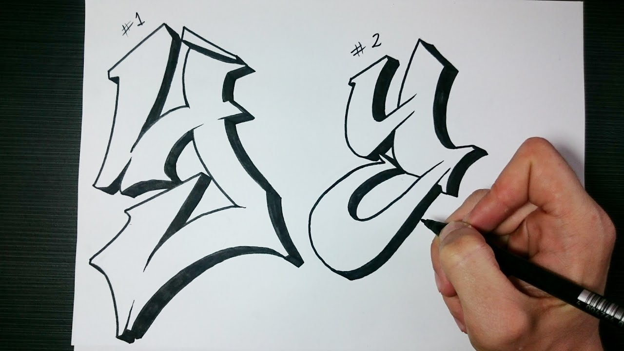 "How to draw Graffiti Letter ""Y"" on paper - YouTube Y Graffiti Letters"