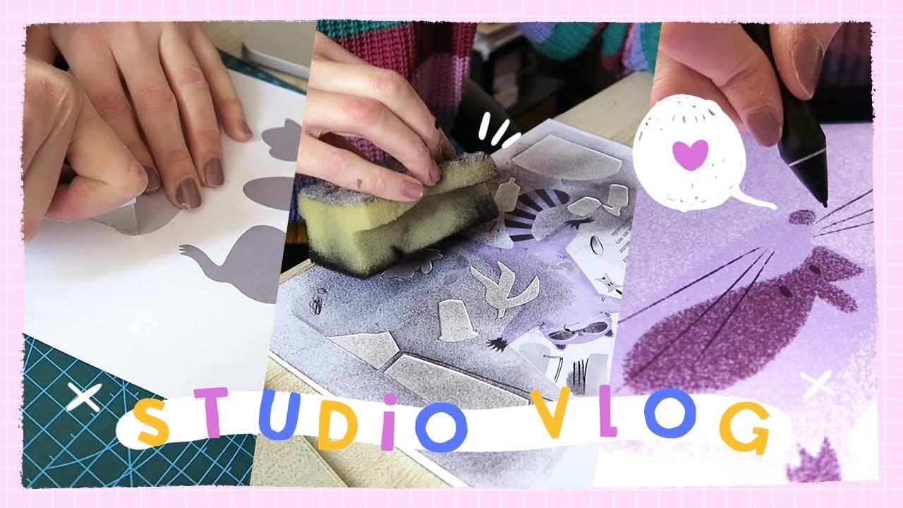 STUDIO VLOG #019 | Perfecting my Stencil Illustrations & How I Make Art Prints at Home