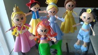 Como fazer Fofucha PRINCESA Cinderela em EVA,princesa en foami,goma eva,microporoso