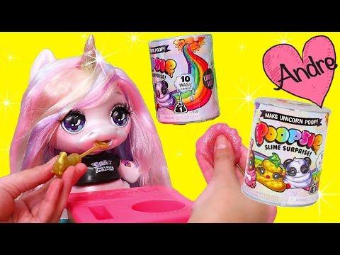 La muñeca Unicornio come comida que se hace slime | Muñecas y juguetes con Andre para niñas y niños