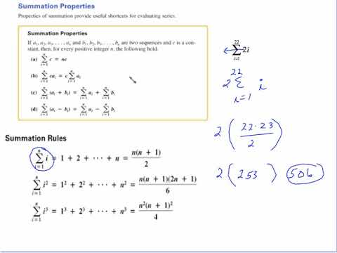 PRE CALC SECTION 11 1 (PART 3) SUMMATION RULES AND PROPERTIES