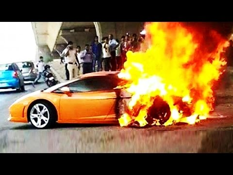 Lamborghini Gallardo In Flames In Delhi India Car Accidents 2015