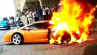 Lamborghini Gallardo In Flames In Delhi, India | Car Accidents 2015