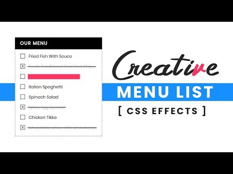 CSS Creative Restaurant Menu List | Html CSS Custom Checkbox Design