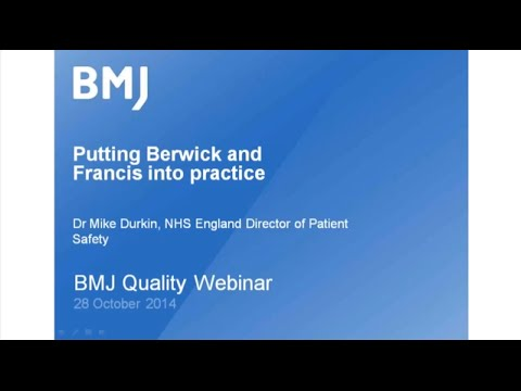 The Berwick Report  One Year On, with Dr Mike Durkin