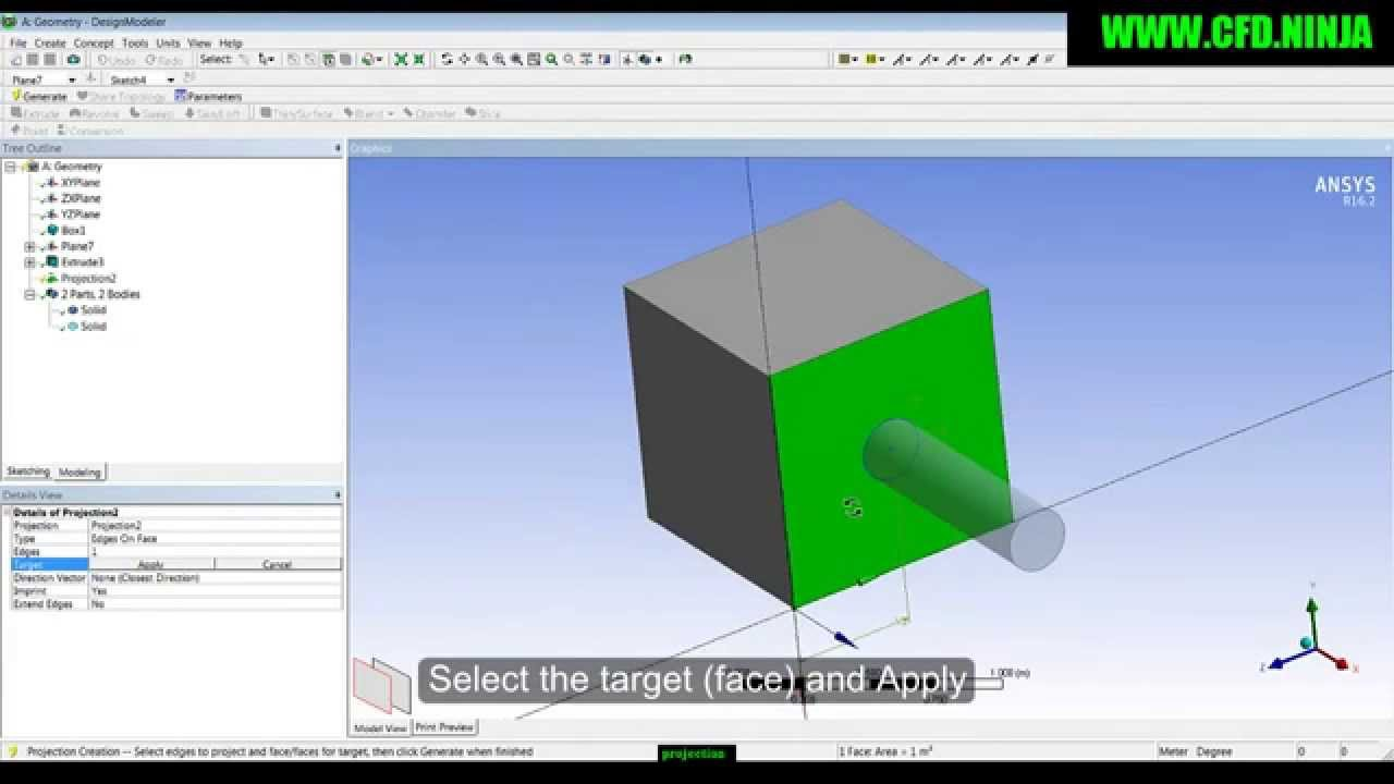 ANSYS DESIGN MODELER - Projection - Basic Tutorial 10 by CFD NINJA