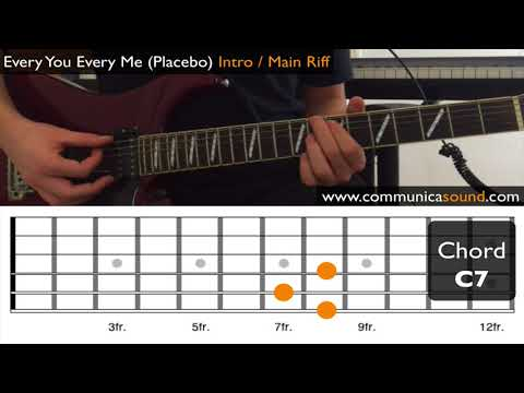 Every You Every Me (Placebo) GUITAR TUTORIAL Intro / Main Riff