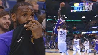 LeBron James Tries Not To Laugh At Lance Stephenson's Dunk Fail On Marc Gasol! Lakers vs Grizzlies