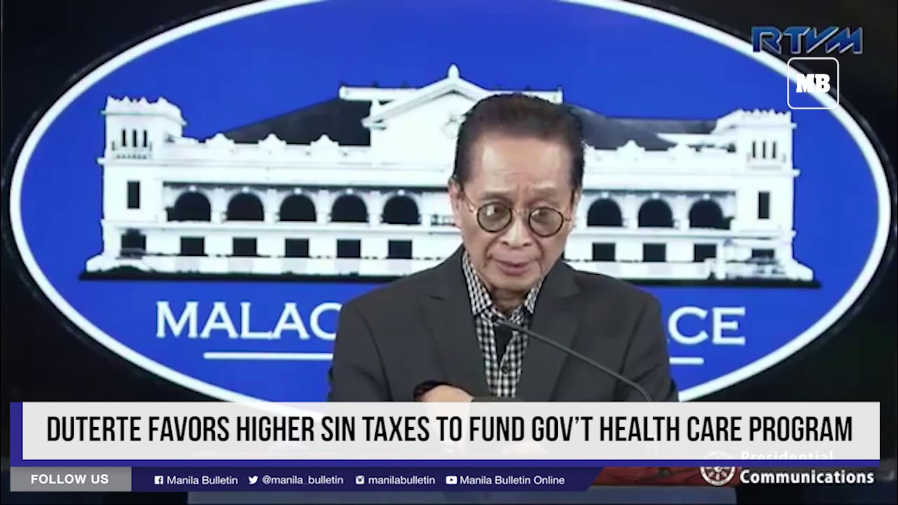 Duterte favors higher sin taxes to fund gov't health care program