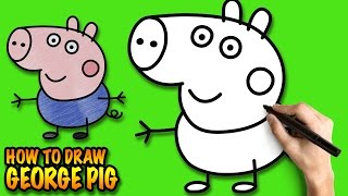 How to draw George Pig - Peppa Pig - Easy step-by-step drawing tutorial