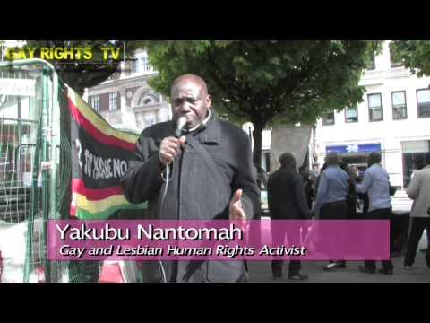 GAY AND LESBIAN HUMAN RIGHTS ACTIVIST YAKUBU YANTOMAH AT A DEMONSTRATION IN LONDON.