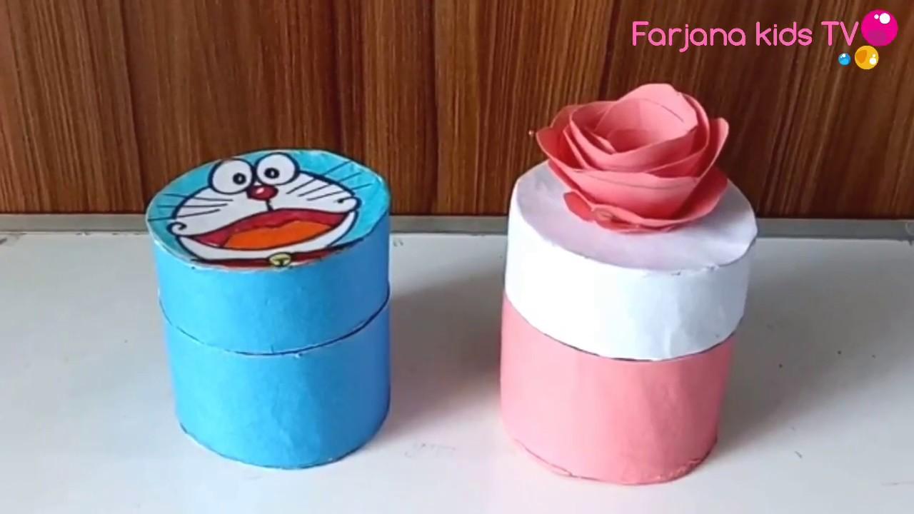Diy Gift Box Jewellery Box Tissue Paper Roll Craft Ideas Youtube