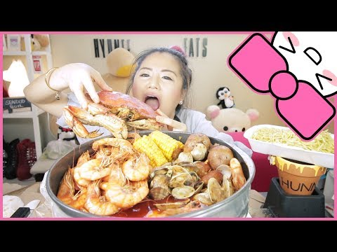SEAFOOD BOIL ft. GARLIC NOODLES | MUKBANG [먹방]