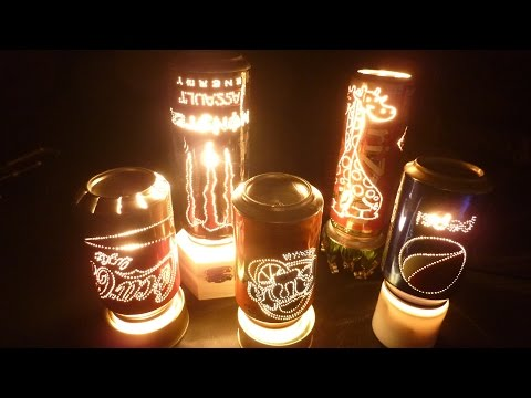 Lámpara Giratoria hecha con Latas de Bebidas / Rotating lamp with Can of Coke