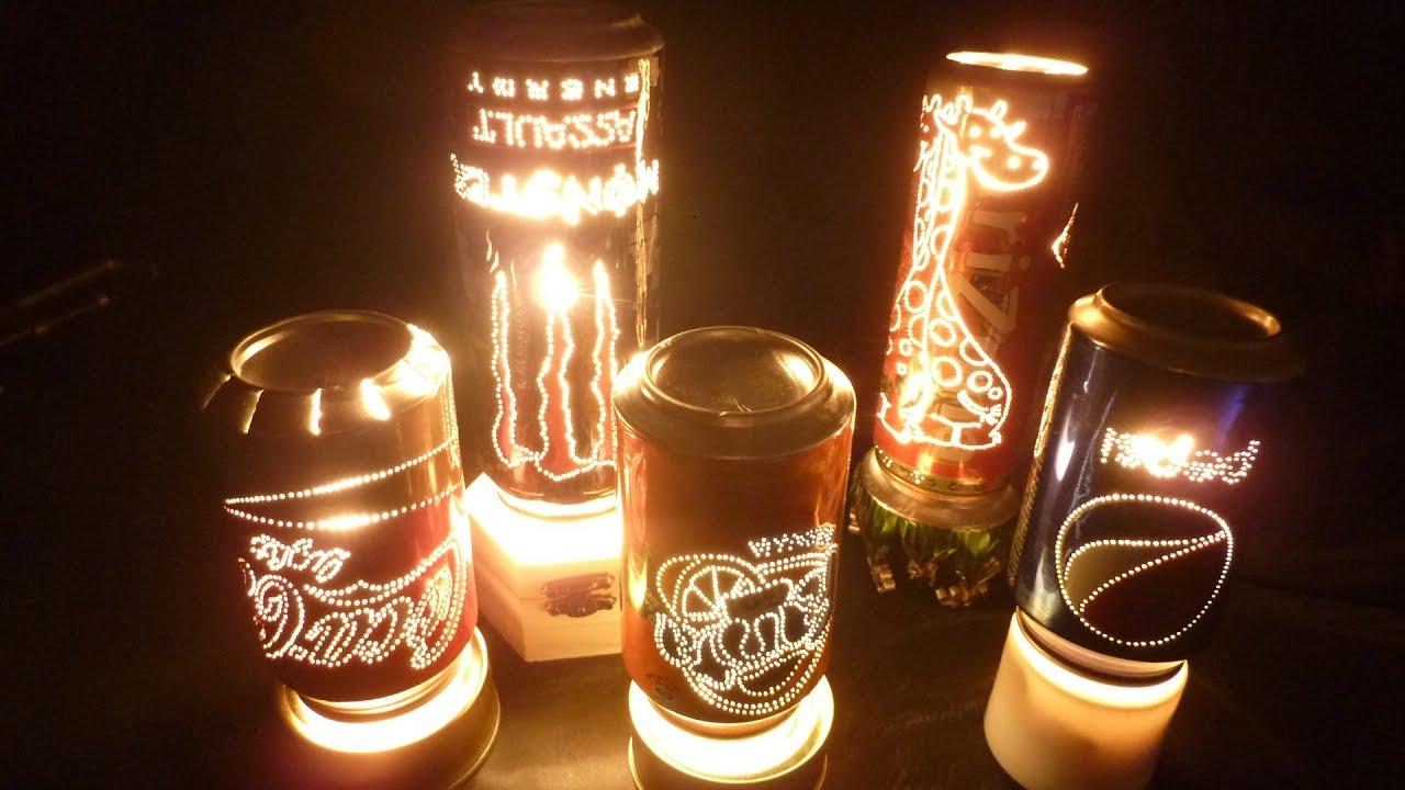 L mpara giratoria hecha con latas de bebidas rotating - Lamparas con botes de cristal ...