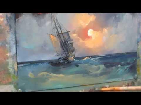 Oil painting. Moonlight night.