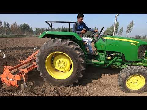 Part -1 John deere 5050 D tractor average in 8 feet rotavator
