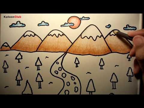 ภูเขา สอนวาดรูปการ์ตูนน่ารักง่ายๆ ระบายสี How to Draw Mountain for Kids Step by Step