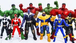 Power Rangers & Marvel Avengers Toys Pretend Play Superhero vs Hulk Thanos Toy Battle #Toysplaytime