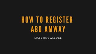 How to register ABO amway malaysia