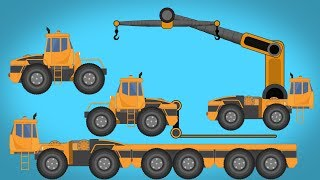 Kids TV Channel Transformer LIFTING TRUCK Construction Truck HOUSE TRANSPORT TRUCK  RELOCATION VAN