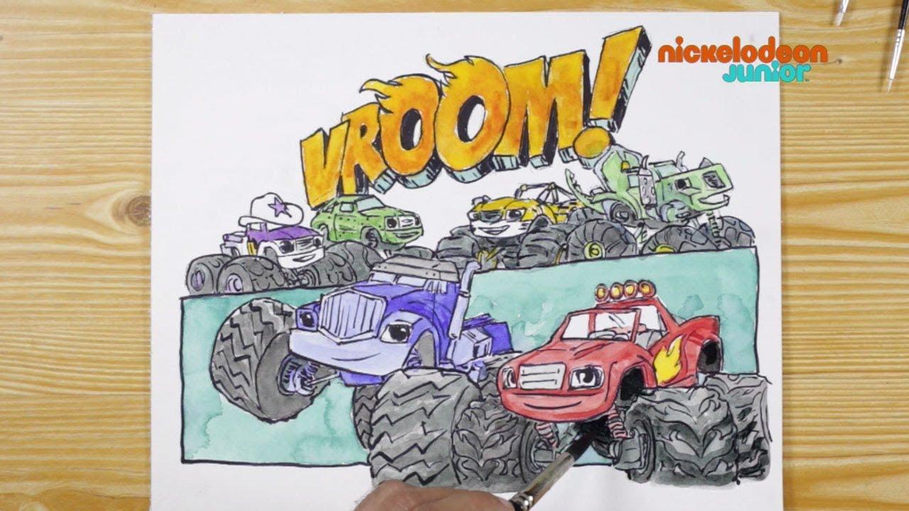 1 2 3 Coloriage Blaze Et Les Monster Machines Vroom Vroom Entier Nickelodeon Junior