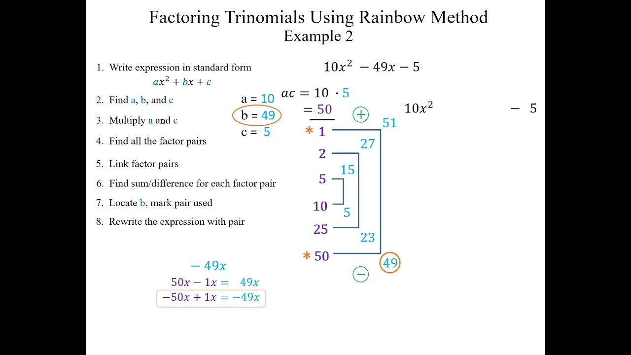 Rainbow factoring example 2 youtube rainbow factoring example 2 falaconquin