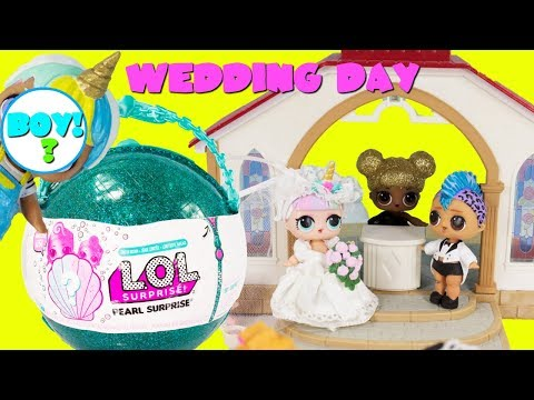 LOL SURPRISE PART 1 Unicorn & Punk Boi Wedding LOL Pearl Surprise Unicorn Boy Ball