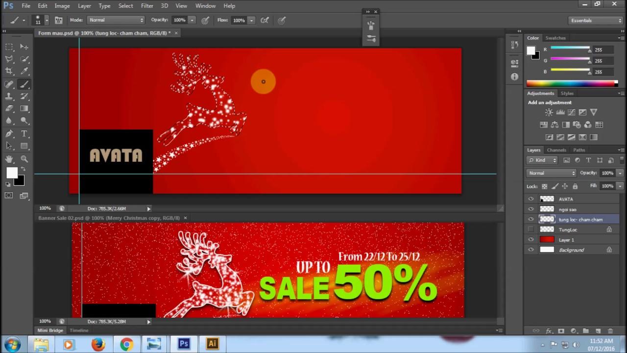 Học Photoshop- Hướng dẫn thiết kế Banner mùa Noel (Phong cách hiện đại) | Đào tạo Đồ Họa