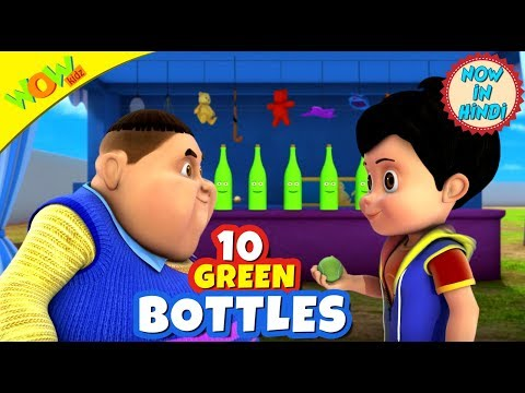 10 Green Bottles | 3D Animated Kids Songs | Hindi Songs for Children | Vir | WowKidz