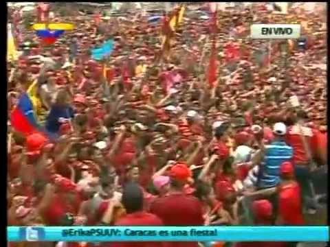 Hugo Chávez Y El Pueblo De Venezuela Cantan El Himno Nacional Venezolano | Caracas, 04.10.2012