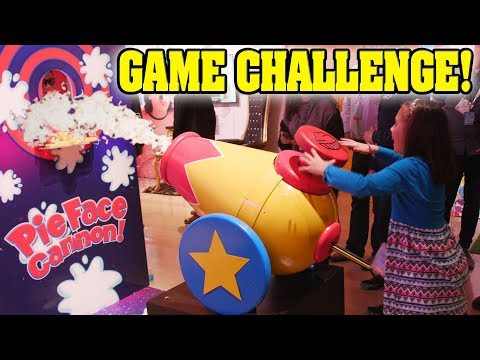 GIANT PIE FACE CANNON!!! Chow Crown, Fantastic Gymnastics Vault Challenge, Jenga Pass at TOY FAIR!