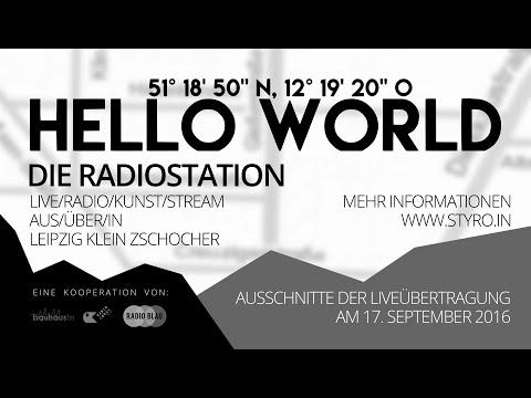 "Hello World / 51º 18′ 50"" N, 12º 19′ 20"" O"