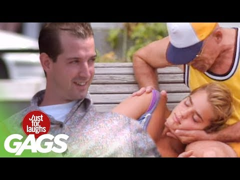 Sexy Girl Sleeps on People - Just For Laughs Gags