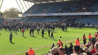 Pitch invasion MILLWALL v oldham last game of the season 30/4/16