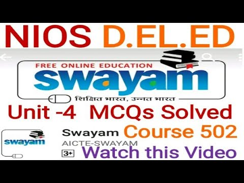 Solved Mcqs Unit-4 Course 502 D.el.ed Free/cheapest online एजुकेशन college degree courses .