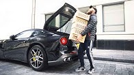 How many boxes of Yeezys can you fit in a Ferrari F12?! & unboxing!