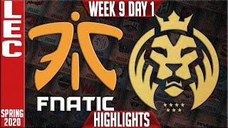 FNC vs MAD Highlights   LEC Spring 2020 W9D1   Fnatic vs MAD Lions