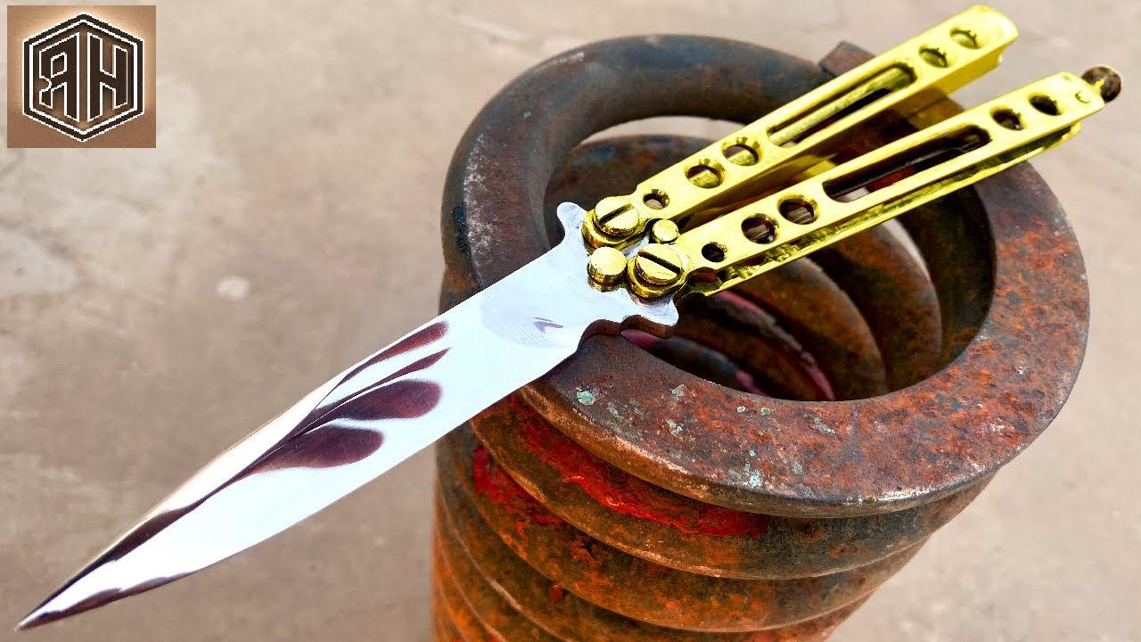 Rusted Spring FORGED into a beautiful Butterfly knife